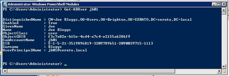 Find an active directory users organizational unit (OU) using