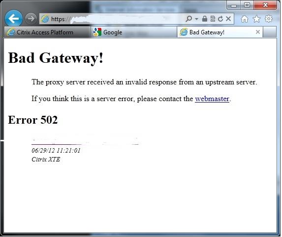 Bad Gateway 502