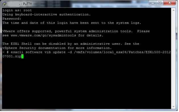 Running the esxcli software vib update command