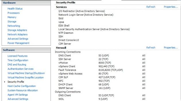 Modify the SSH service properties under 'Security Profile'
